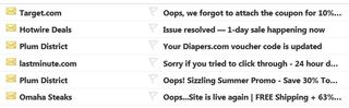 Example Oops email subject lines