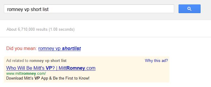 Romney VP short list app on Google AdWords