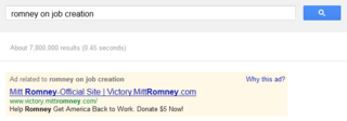 Romney on job creation on Google AdWords