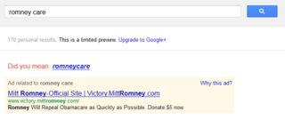 Romney care on Google AdWords