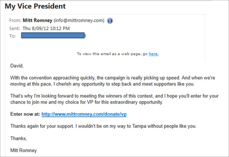 Mitt Romney VP email