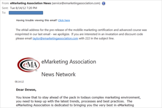 Emarketing oops email