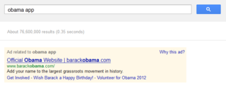 Obama app on Google AdWords