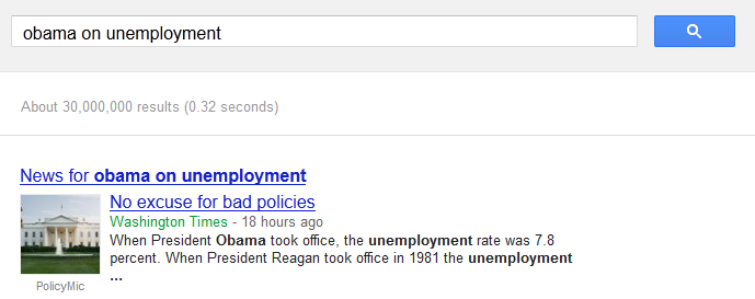 Obama on unemployment not on Google AdWords