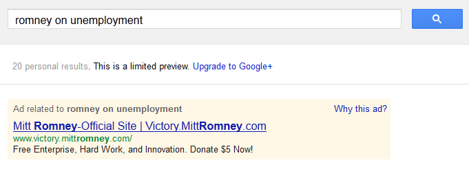 Romney on unemployment on Google AdWords