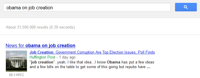 Obama on job creation not on Google AdWords