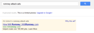 Romney attack ads on Google AdWords
