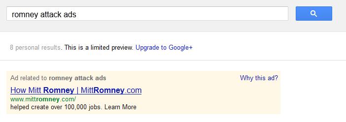 Romney attack ads on Google AdWords