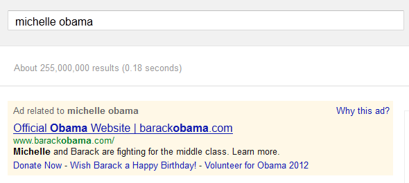 Michelle Obama on Google AdWords
