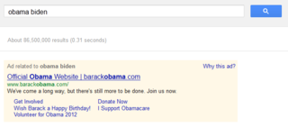 Obama Biden on Google AdWords