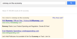 Romney on the economy on Google AdWords