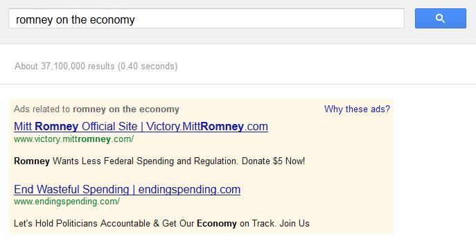 Romney on the economy on Google AdWords