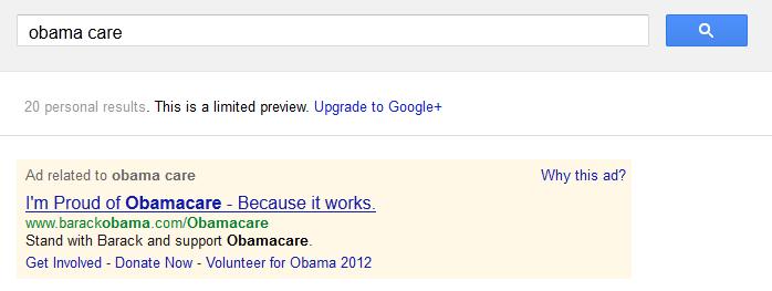 Obamacare on Google AdWords