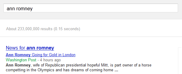 Ann Romney not on Google AdWords
