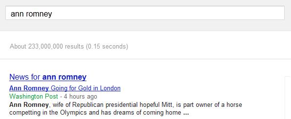 Ann Romney not on Google AdWords