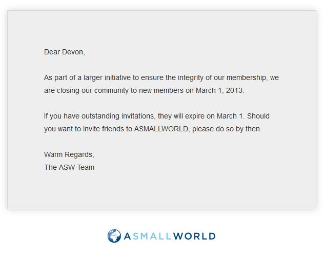 ASW a small world closing to new members