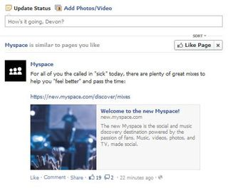 MySpace on Facebook